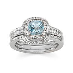 Genuine Aquamarine and 3/8 CT. T.W. Diamond Sterling Silver Ring
