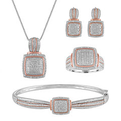 4-pc. 1/5 CT. T.W. White Diamond 14K Rose Gold Over Brass & Pure Silver Over Brass Jewelry Set