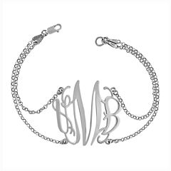 Sterling Silver Personalized Monogram Double Chain Bracelet