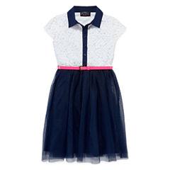 Disorderly Kids® Cap-Sleeve Belted Skater Dress - Girls 7-16