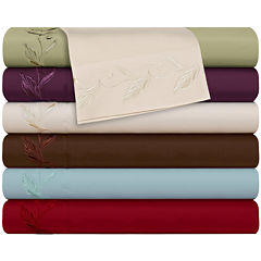 Cathay Home Leaf Embroidered Microfiber Sheet Set