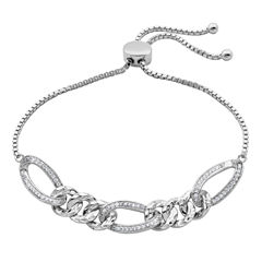 Diamonart Womens White Cubic Zirconia Bolo Bracelet