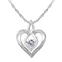 Love in Motion™ Lab-Created White Sapphire & Diamond-Accent Sterling Silver Heart Pendant Necklace