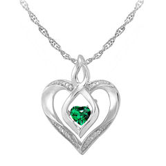 Love in Motion™ Simulated Emerald and Diamond-Accent Heart Pendant Necklace