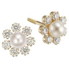 Girls Pearl & Cubic Zirconia Flower Stud Earrings