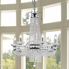 Warehouse Of Tiffany Crystal Chrome Finish Pendant Lamp