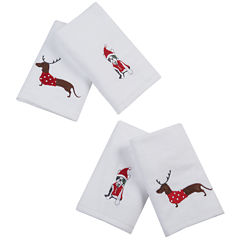 Dasher Dog 4-pc Embroidered Hand Towel Set
