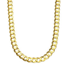 10K Yellow Gold 10MM Curb Necklace 28