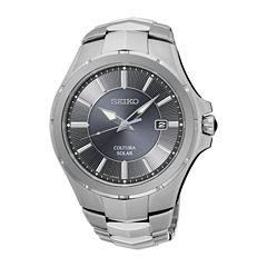 Seiko® Coutura Mens Stainless Steel Solar Bracelet Watch
