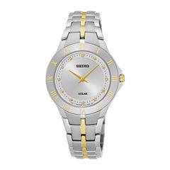 Seiko® Recraft Womens Two-Tone Stainless Steel Solar Bracelet Watch