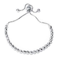 Sterling Silver Diamond-Cut Bead Adjustable Bracelet