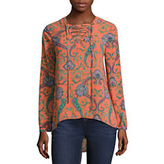 Nicole By Nicole Miller Long Sleeve Lace Up Top