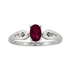 Genuine Garnet and Diamond Accent 14K White Gold Ring