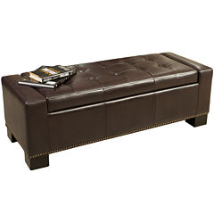 Slater Bonded Leather Storage Bench With Nailhead Trim