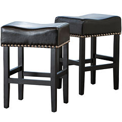 Fallon Set of 2 Backless Bonded Leather Barstools with Nailhead Trim