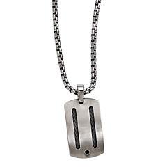Edward Mirell Argentium® Sterling Silver Mens Black Spinel Titanium Pendant Necklace