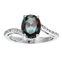 Womens Diamond Accent Lab Created Purple Sterling Silver Cocktail Ring