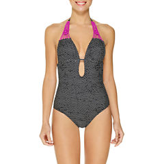 Ambrielle Geo Linear One Piece Swimsuit