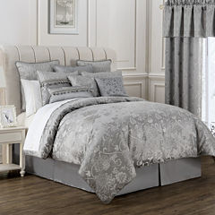 Marquis by Waterford® Samantha Platinum Floral 4-pc. Jacquard Comforter Set
