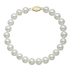 Womens White Pearl 14K Gold Beaded Bracelet