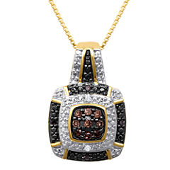 1/10 CT. T.W. White, Champagne and Color-Enhanced Black Diamond Pendant Necklace