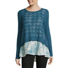 Alyx Long Sleeve Crew Neck Pullover Sweater-Petites