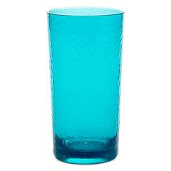 Outdoor Oasis™ Set of 4 Aqua Hammered Highball Glasses