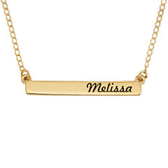 Personalized 14K Yellow Gold Engraved Name Bar Necklace
