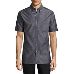 Haggar Short Sleeve Plaid Button-Front Shirt