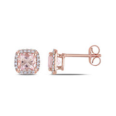 Genuine Morganite and Diamond 10K Rose Gold Stud Earrings