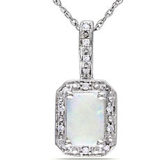 Genuine Opal and Diamond-Accent 10K White Gold Pendant Necklace