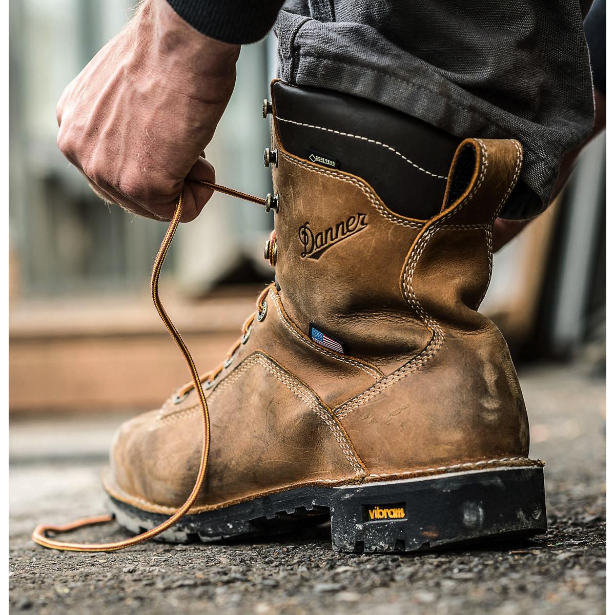 "Men/'s Work Boot US made 8/"" Plain Toe Danner Quarry GTX Distressed Brown 14553"