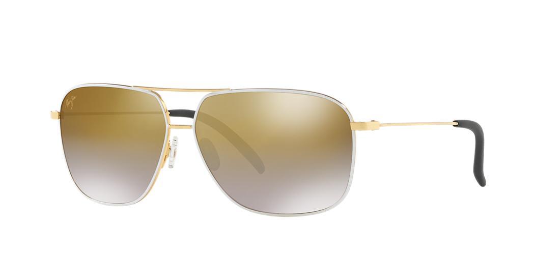4e07f9ff1915e Maui Jim Kami 62Mm Polarizedplus2 Aviator Sunglasses - Gold W White  Dual  Mirror In Gold