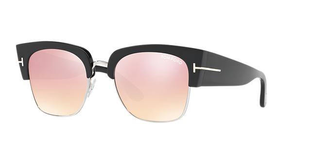 TOM FORD DAKOTA SEMI-RIMLESS CAT-EYE FLASH SUNGLASSES, STRAWBERRY/SILVER/BLACK