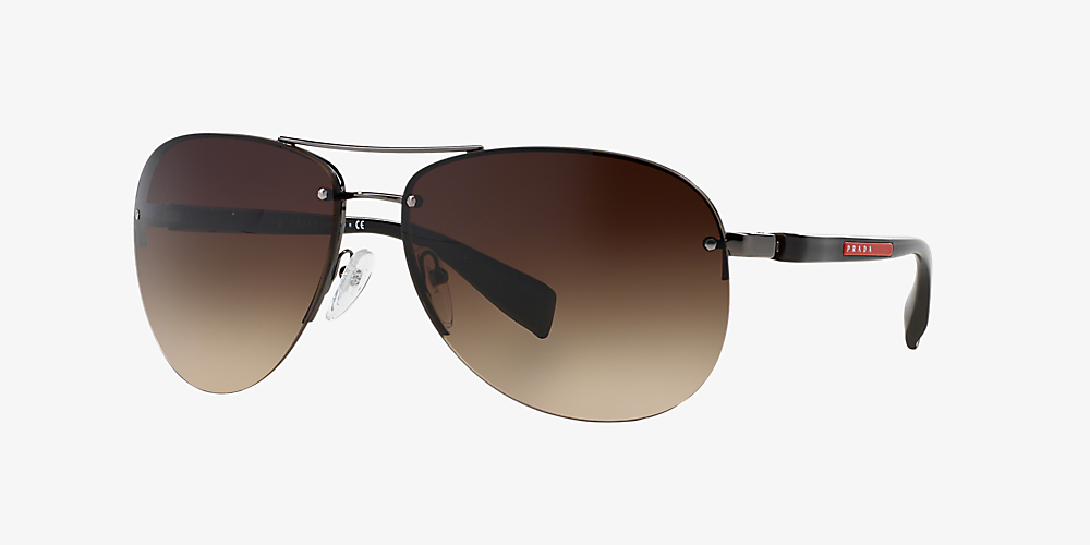 2de7ad14884e Prada Linea Rossa PS 56MS 62 Brown & Gunmetal Sunglasses | Sunglass ...