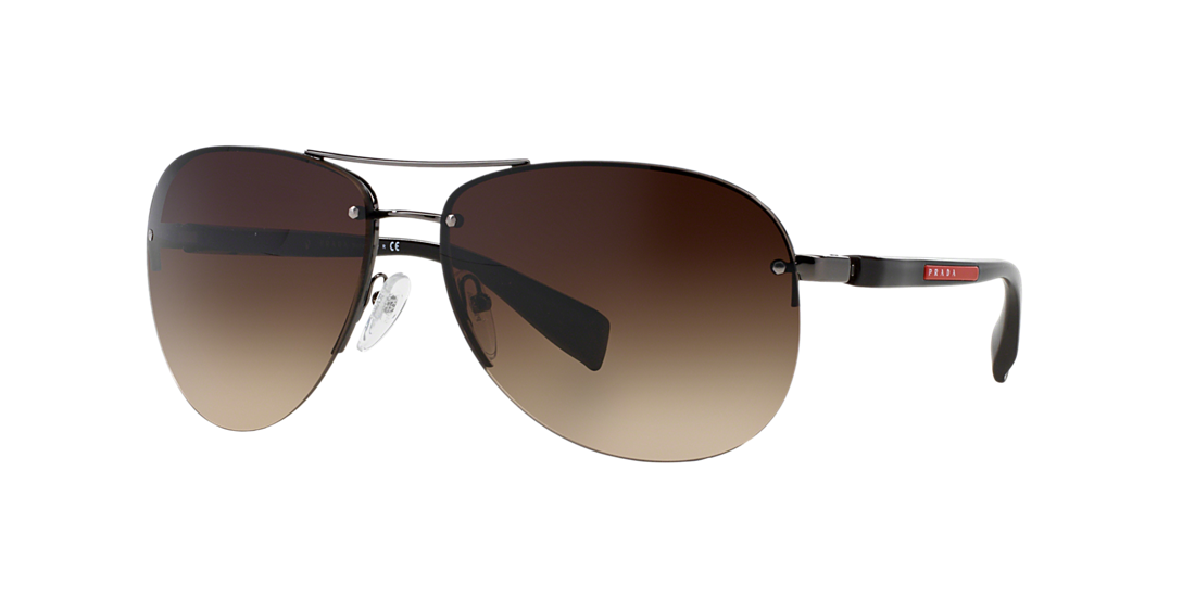 7be16eb0cb9 Prada Linea Rossa PS 56MS 62 Brown   Gunmetal Sunglasses