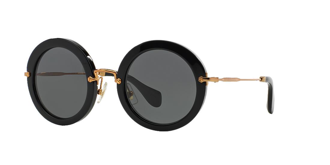 2f6dd88c2a80 Miu Miu MU13NS 49 Grey-Black   Black Sunglasses