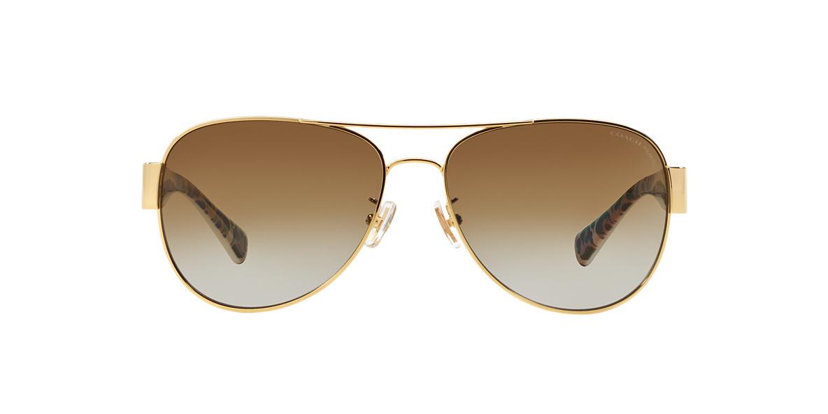 2644cc98a90 Coach HC7059 58 Brown   Gold Polarized Sunglasses