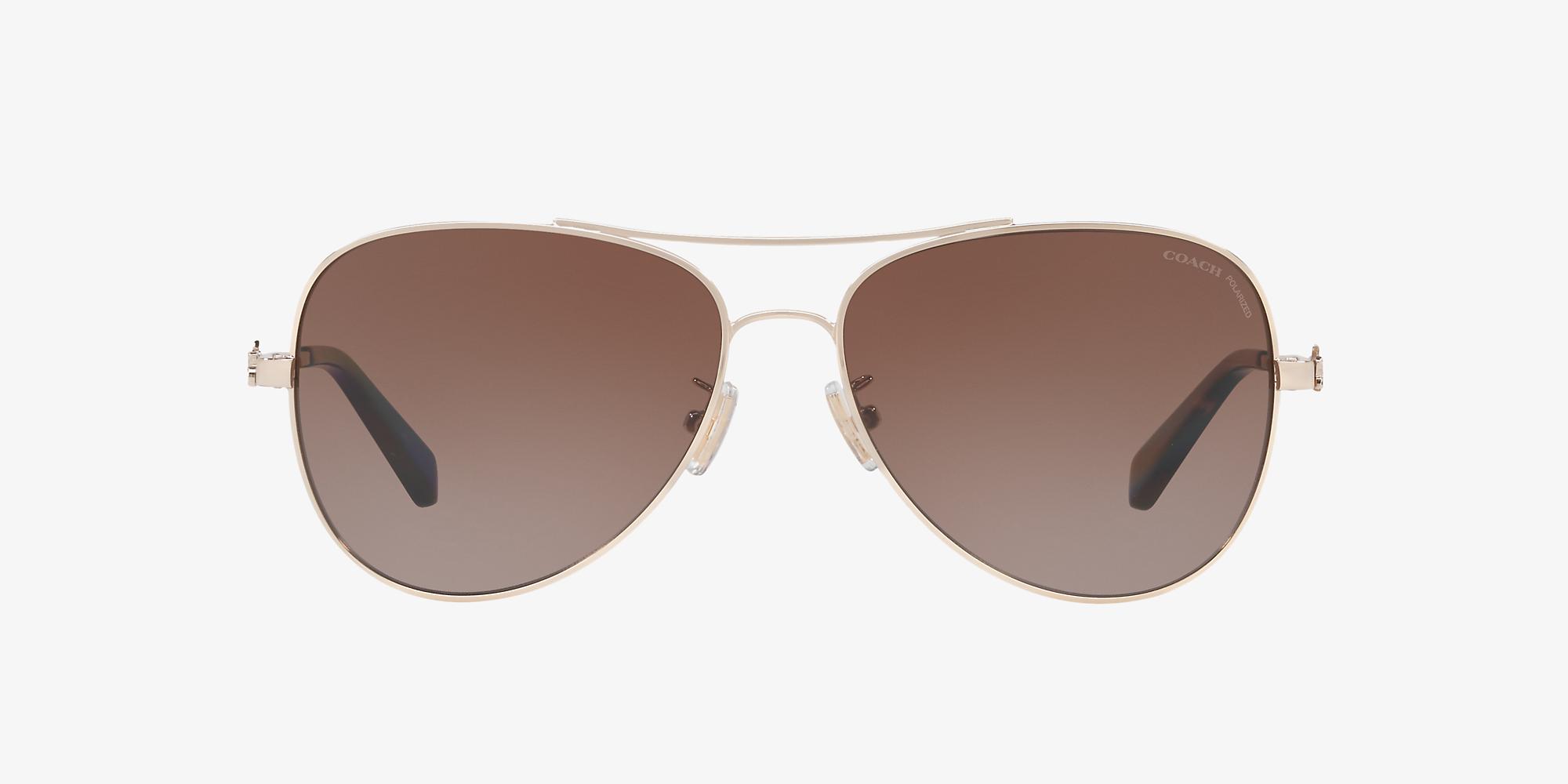 ed20d8f855e6 Coach HC7074 59 Brown & Gold Polarized Sunglasses | Sunglass Hut USA