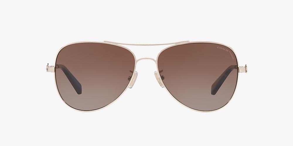 132becc6f Coach HC7074 59 Brown & Gold Polarized Sunglasses   Sunglass Hut USA