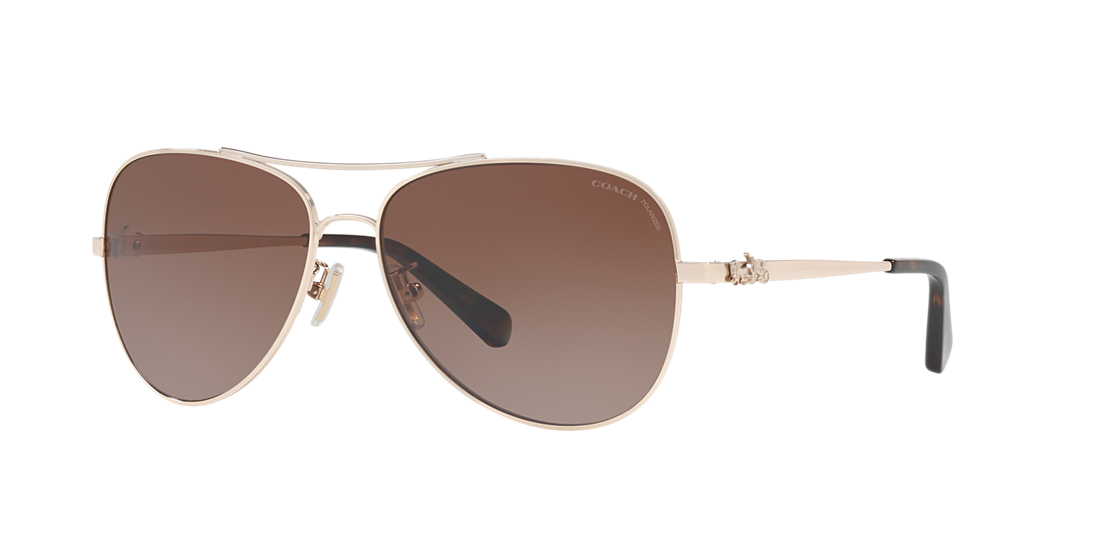 a73dc6b3ca0 Coach HC7074 59 Brown   Gold Polarized Sunglasses