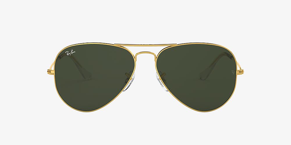 09d1a60e3 Ray-Ban RB3025 AVIATOR CLASSIC 55 Green & Gold Sunglasses | Sunglass ...