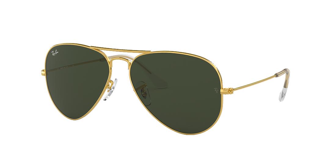 57808212f1bedc Ray-Ban RB3025 AVIATOR CLASSIC 55 Green   Gold Sunglasses