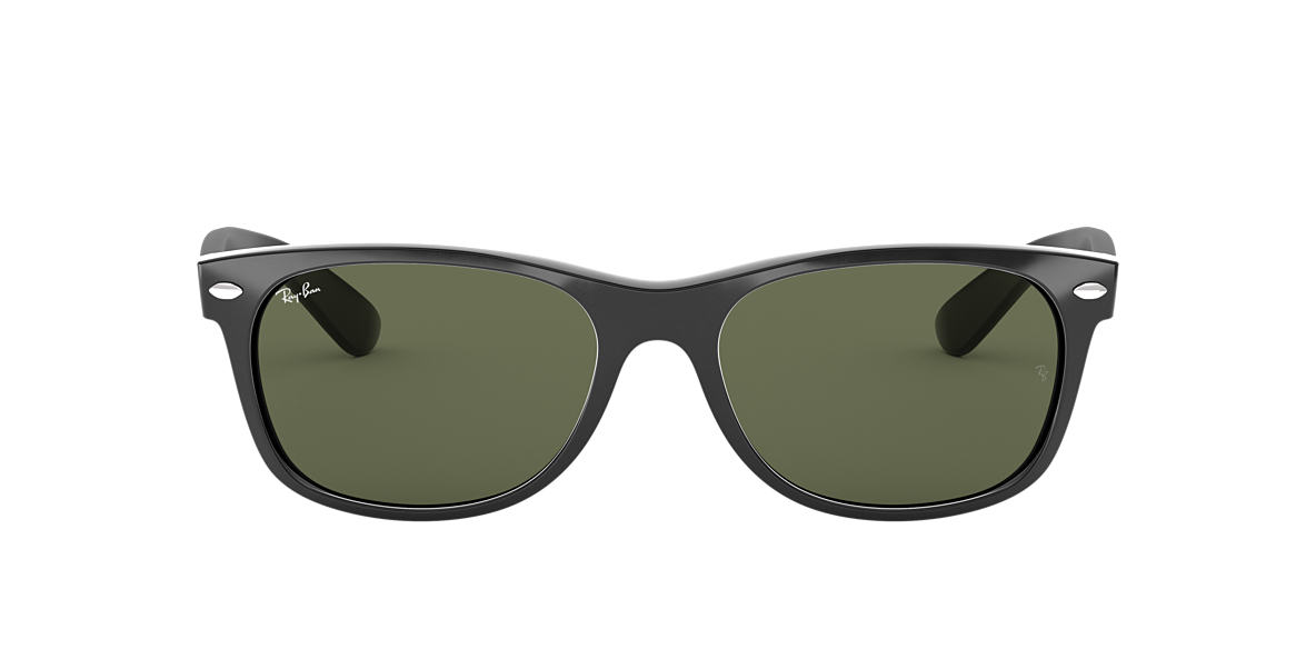e80db6b5d7 RAY-BAN Black RB2132 NEW WAYFARER CLASSIC Green lenses 55mm