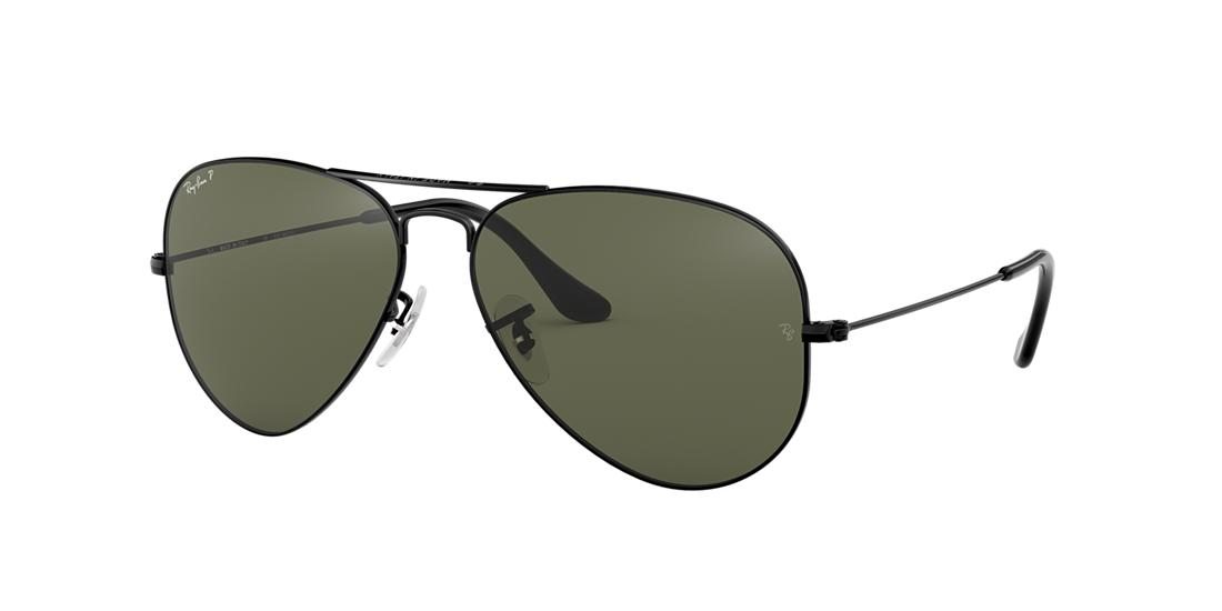 Ray Ban Ray-ban Unisex Polarized Brow Bar Aviator Sunglasses, 55mm In Black/green Polarized