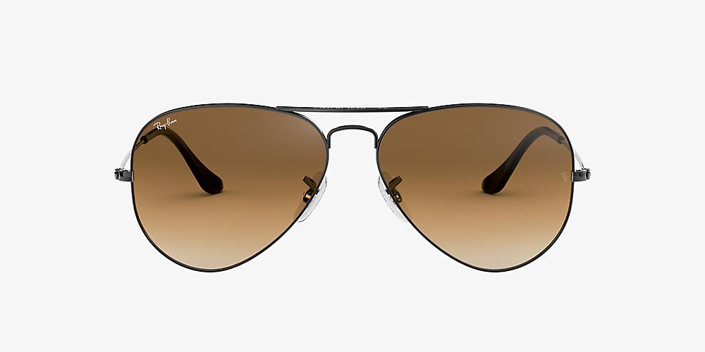 ray ban aviator gunmetal brown gradient polarized