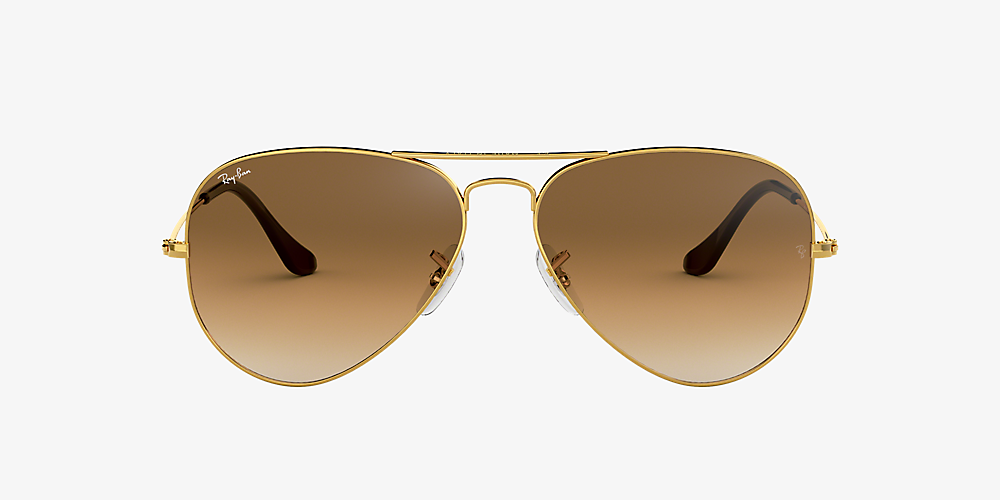 ray ban aviator gold brown small