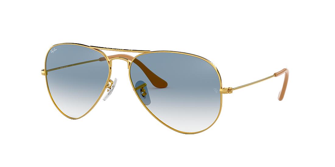 b5f1f0fea694b Ray-Ban RB3025 55 Light Blue Gradient   Gold Sunglasses