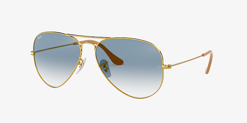 ray ban aviator gold frame light brown gradient
