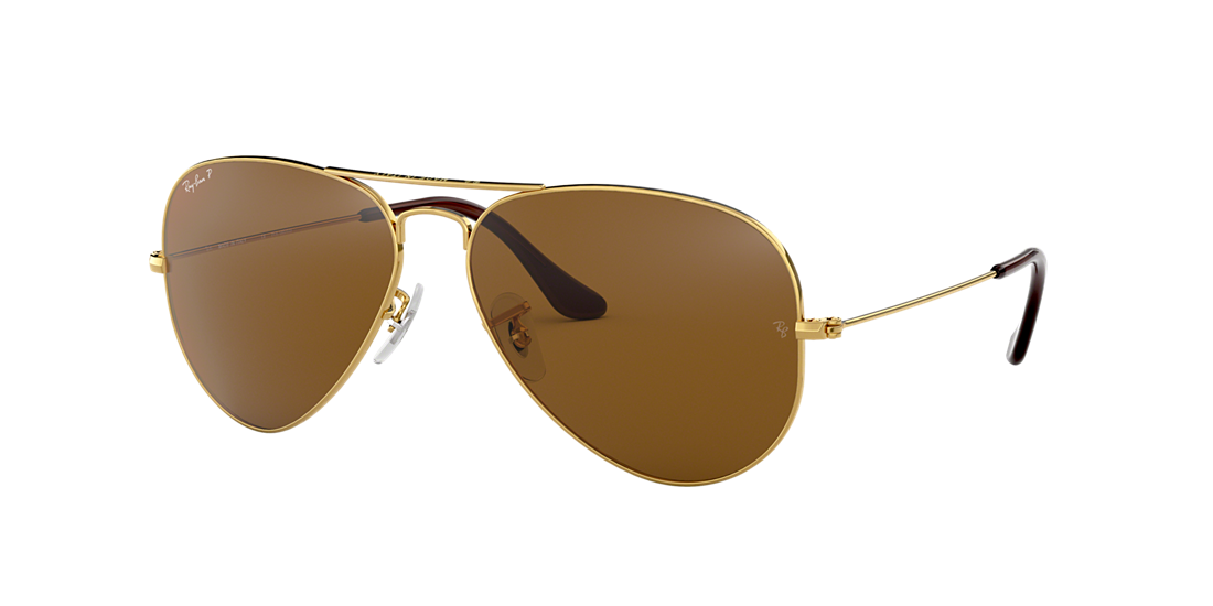 29b741e4ba8 Ray-Ban RB3025 62 Polarized Brown Classic B-15   Gold Polarized ...